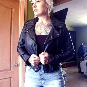 Jou Jou Faux Leather Motorcycle Biker Jacket L